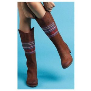 BC Footwear Aztec Leather Brown Stack Heeled Boots